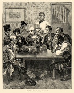 Victorian men celebrating with champagne